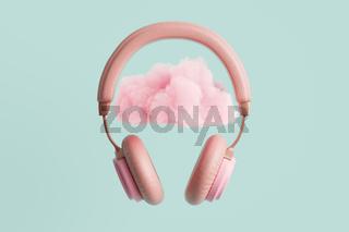 Pink headphoneswith cloud 3D illustration