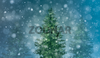 Christmas background with snowy fir trees.