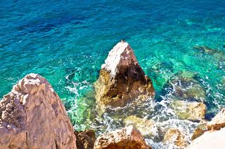 Sea landscape. Rocks in turquoise sea view.