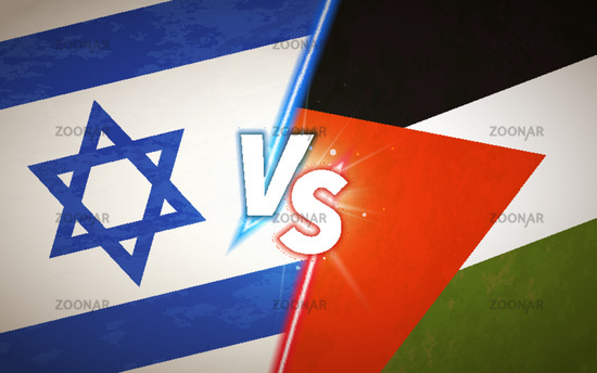 Versus screen, battle concept with Israel and Palestine flags