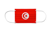 Flag of Tunisia on a disposable surgical mask. White background
