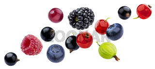 Fresh falling berries isolated on white background