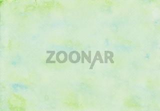 Mit dem Mikrofaser Farbroller und Wasserfarbe gemalter Aquarell Hintergrund in Grün und Blau