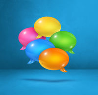 multicolor speech bubbles on blue square background