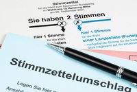 ballot card and vote-by-mail envelope for the federal election in Germany 2021