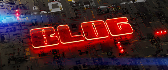 circuit board with the glowing word blog