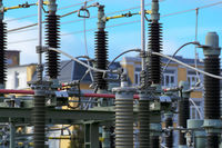 A substation connects different voltage levels