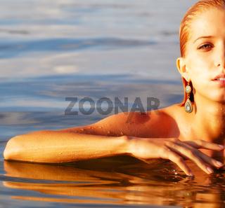 beautiful blonde in sea