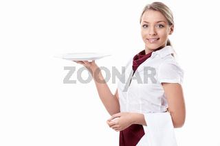 A smiling waitress