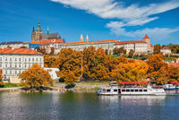Prague Czech Republic, city skyline at Vltava River and Prague Castle, Czechia with autumn foliage season