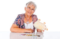 Senior woman with savings