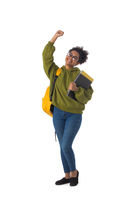 African university student hold arm fist raised up