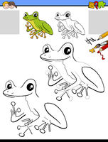 drawing and coloring task with tree frog character