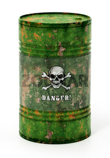Toxic barrell with skull and bones and danger text. 3D illustration
