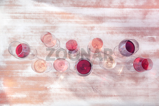 Wine types. Many wine glasses, shot from the top