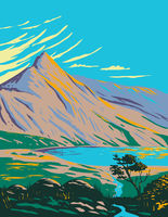 Mount Snowdon with Lake Glaslyn in Snowdonia National Park in Northwestern Wales UK Art Deco WPA Poster Art