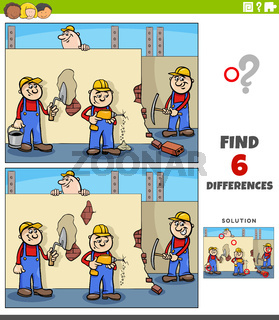 differences educational game with cartoon workers