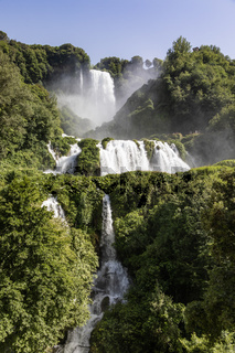 Marmore waterfall in Umbria region, Italy. Amazing cascade splashing into nature.