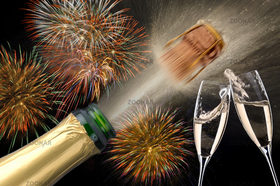 popping champagne and firework