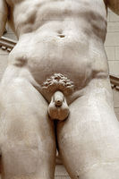 Focus on penis of the Statue of David realized by Michelangelo