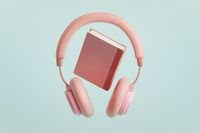 Pink headphones with book 3D illustration