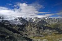 Alpine landscape with peaks and glaciers in Val d'Anniviers, Zinal, Wallis, Switzerland