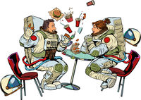 Astronauts man and woman couple date at fast food restaurant