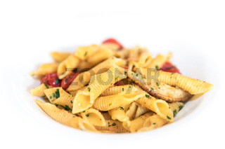 Penne pasta with mushrooms and cherry tomatoes