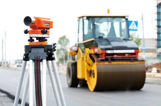 survey equipment at asphalting works