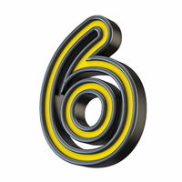 Yellow black outlined font Number 6 SIX 3D