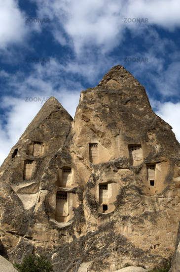 dovecotes in hollowed volcanic tuff rocks,Cappadoc