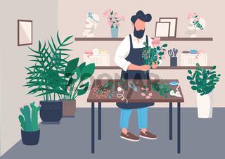 Inside flower shop flat color vector illustration