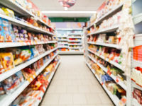 abstract blurred supermarket aisle background