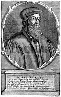 Portrait of John Wyclif, Wycliff, Wiclef, Wicliffe or Wickliffe, Doctor evangelicus, 1330 - 1384, an English philosopher, theologian and church reformer