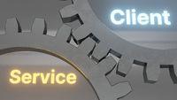 user experience service client mechanism cogwheels 3d illustration