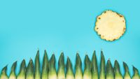 Happy minimalistic summer background with sun and gras on turquoise sky made by pineapple