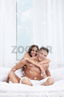 The happy couple in the bedroom