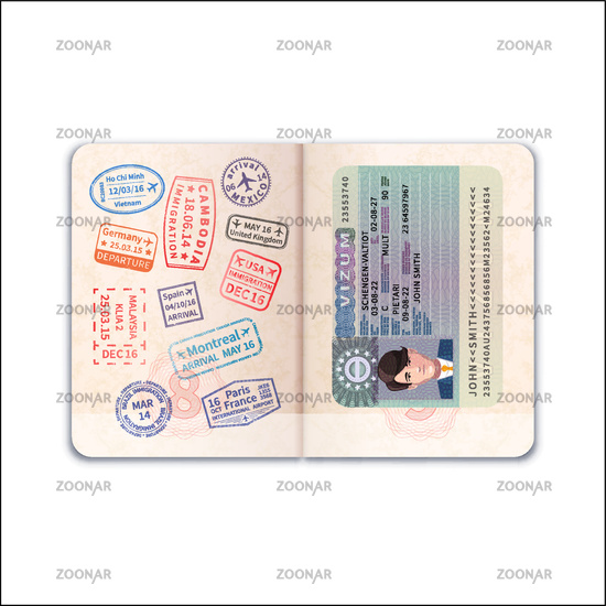 Open foreign passport with visa and immigration stamps on white