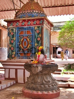 Patterned painted shrine, Thanjavur Royal palace, Tamil Nadu, S India