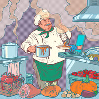 male chef prepares food, online delivery Pop art retro illustration