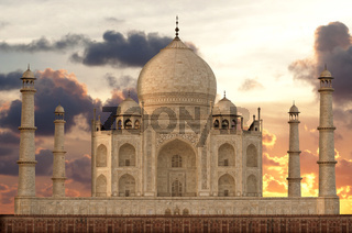 Sunset over Taj Mahal mausoleum