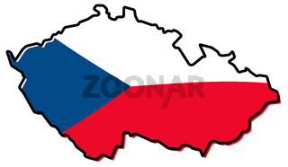 Simplified map of Czechia (Czech Republic) outline, with slightly bent flag under it.