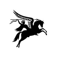 Parachute Regiment Airborne Forces Showing an English British Knight Warrior Riding a Winged Horse or Pegasus with Lance or Spear Military Badge Black and White
