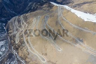 aerial view of the rough road