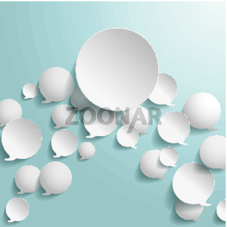 White Speech Bubbles With Big Circle