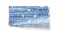 Federated States Micronesia flag on a piece of cloth on a white background