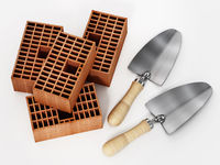 Construction trowel and bricks isolated on white background. 3D illustration