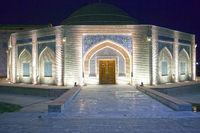 ancient buildings of Samarkand in the night illumination. Uzbekistan