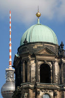 Berlin Cathedral or Berliner Dom and Berliner Fernsehturm tower in Berlin, Germany, Europe.
