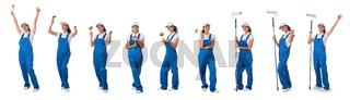 set of construction workers. portraits of woman professional painter, decorator or repairman in workwear isolated on white background. industry and building concept